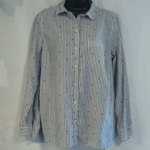 Old Navy Classic Stripe Heart Button Front Top